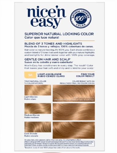 Clairol Natural Looking Nice'n Easy Permanent 9A Light Ash Blonde Color Perspective: bottom