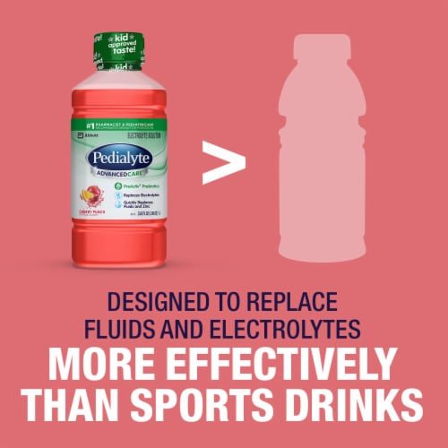 Pedialyte AdvancedCare Cherry Punch Ready-to-Drink Electrolyte Solution Perspective: bottom