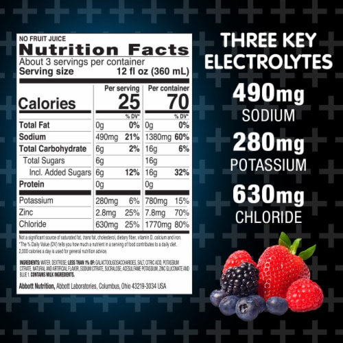 Pedialyte® Advanced Care Plus Berry Frost Electrolyte Solution Perspective: bottom