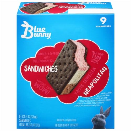 Blue Bunny Neapolitan Frozen Dairy Dessert Sandwiches Perspective: bottom