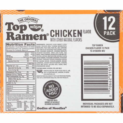 Top Ramen Chicken Flavor Ramen Noodle Soup 12 Count Perspective: bottom