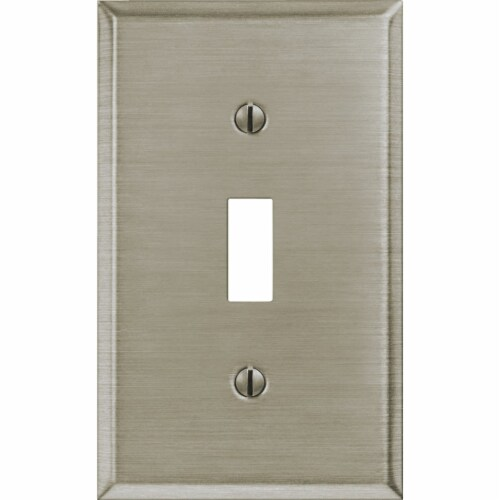 Amerelle® Toggle Brushed Nickel Light Switch Cover Perspective: bottom