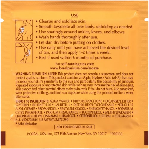 L'Oreal Sublime Bronze Self-Tanning Medium Natural Tan Towelettes 6 Count Perspective: bottom