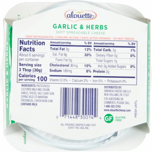 Alouette® Garlic & Herb Soft Spreadable Cheese Perspective: bottom
