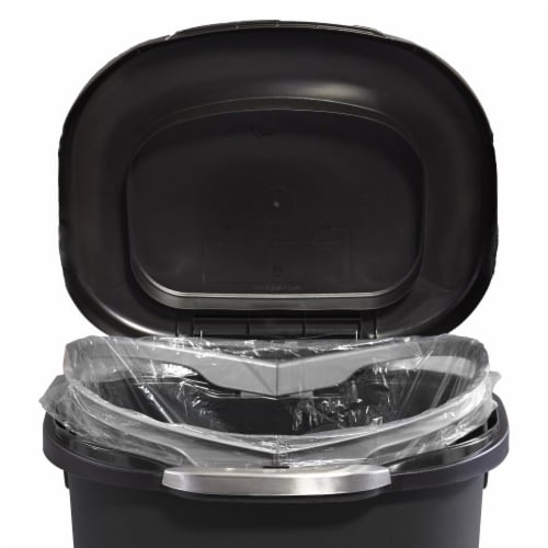 Rubbermaid Touch Top 13 Gallon Plastic Wastebasket Trash Can w/ Lid & Liner Lock Perspective: bottom