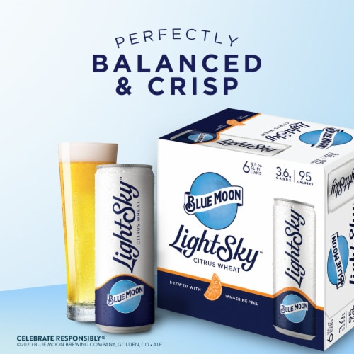 Blue Moon Light Sky Citrus Wheat Beer Perspective: bottom