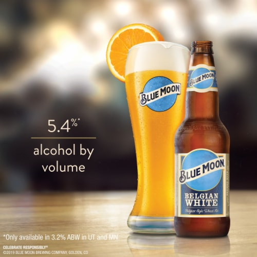 Blue Moon Belgian White Belgian-Style Wheat Ale Beer Perspective: bottom