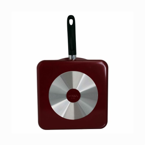 Mirro Square Flat Griddle - Black/Red Perspective: bottom