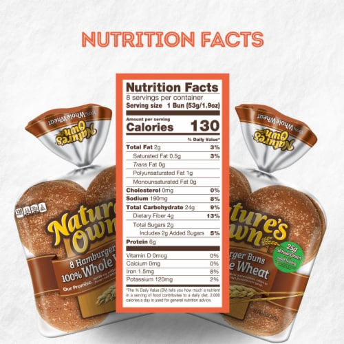 Nature's Own® 100% Whole Wheat Hamburger Buns Perspective: bottom