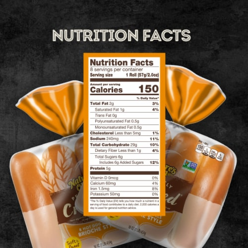 Nature's Own Perfectly Crafted Brioche Style Hot Dog Buns 8 Count Perspective: bottom