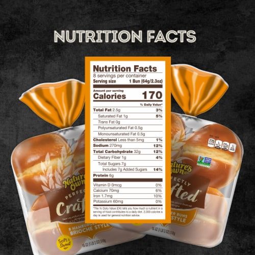 Nature's Own Perfectly Crafted Brioche Style Hamburger Buns 8 Count Perspective: bottom