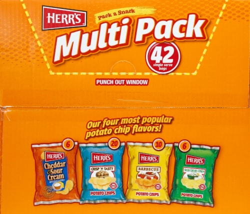 Herr's Pack a Snack Potato Chip Multi Pack Bags Perspective: bottom