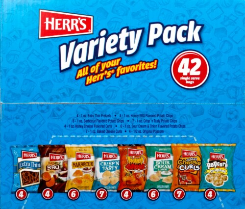 Herr's Potato Chips and Snack Bags Variety Pack 42 Count Perspective: bottom