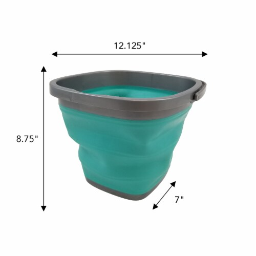 Homz Store N Stow Heavy-Duty Portable Collapsible Bucket - Teal/Gray Perspective: bottom