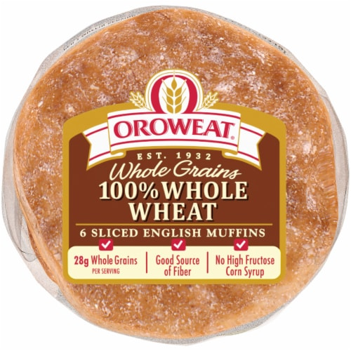 Oroweat 100% Whole Wheat English Muffins 6 Count Perspective: bottom