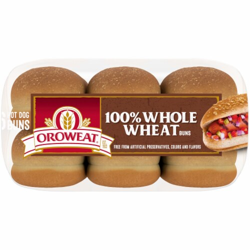 Oroweat Whole Grain Wheat Hot Dog Buns 6 Count Perspective: bottom