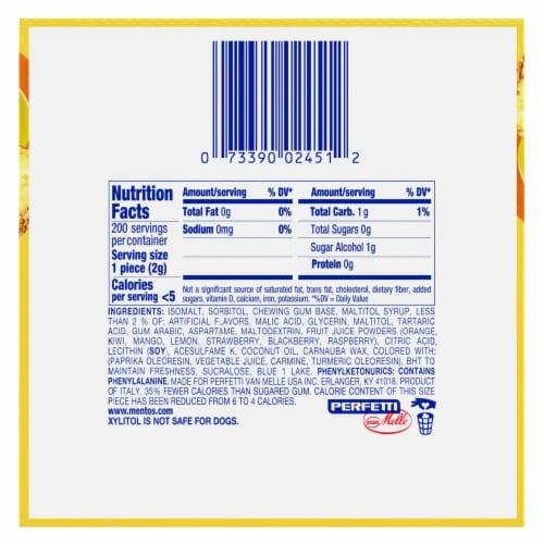 Mentos Red Fruit Lime Tropical Sugar-Free Gum Perspective: bottom