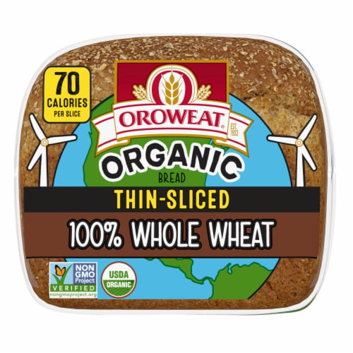Oroweat Organic Thin Sliced Whole Wheat Bread Perspective: bottom