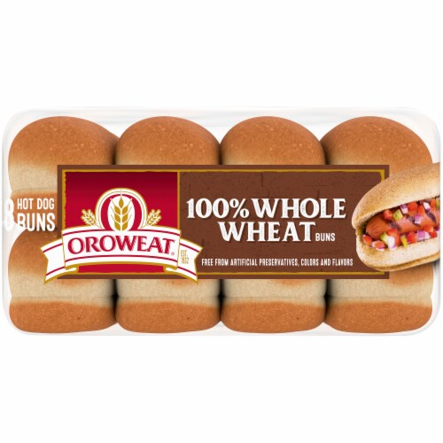 Oroweat 100% Whole Wheat Hot Dog Buns Perspective: bottom