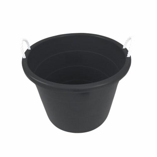 Homz Plastic 17 Gallon Utility Storage Bucket Tub w/ Rope Handle, Black, 2 Pack Perspective: bottom