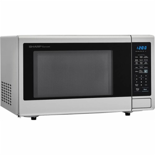 Sharp Stainless Steel Carousel Countertop Microwave Oven - Silver/Black Perspective: bottom