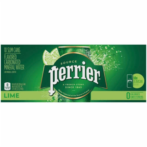 Perrier Lime Flavored Carbonated Mineral Water 10 Count Perspective: bottom