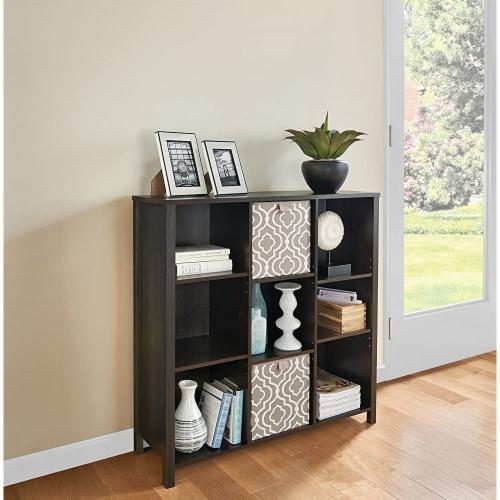 ClosetMaid 1605800 Adjustable 9 Cube Storage Organizer Book Shelf, Black Walnut Perspective: bottom