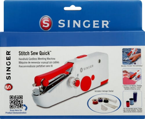 SINGER Stitch Sew Quick Hand-Held Sewing Machine - Red/White Perspective: bottom
