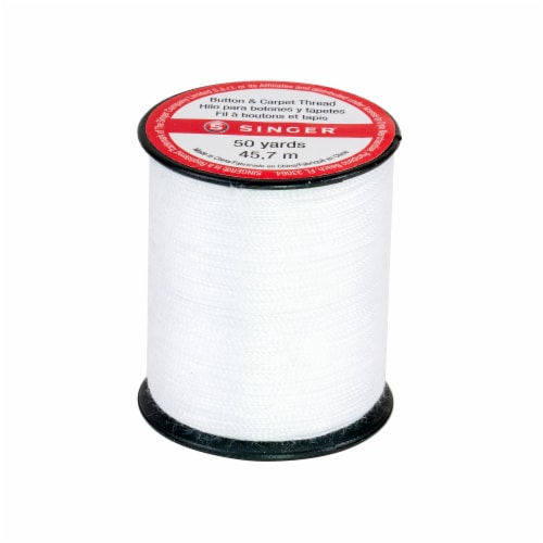 SINGER Button and Carpet White Polyester Blend Thread Perspective: bottom