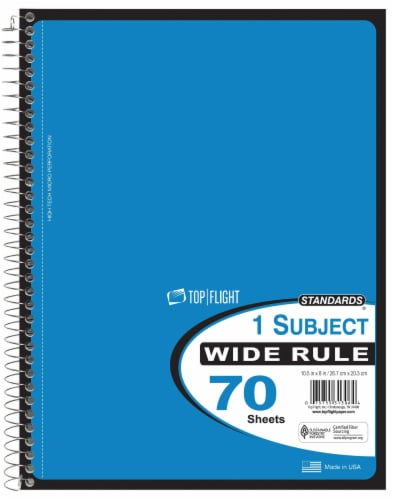 Top Flight Wide Ruled 1-Subject Notebook - 70 Sheets - Assorted Perspective: bottom