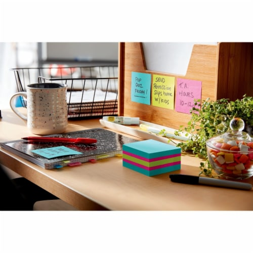 Post-it® Super Sticky Notes Cube - Assorted Perspective: bottom