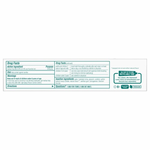 Tom's of Maine Clean Mint Luminous White Toothpaste with Fluoride Perspective: bottom