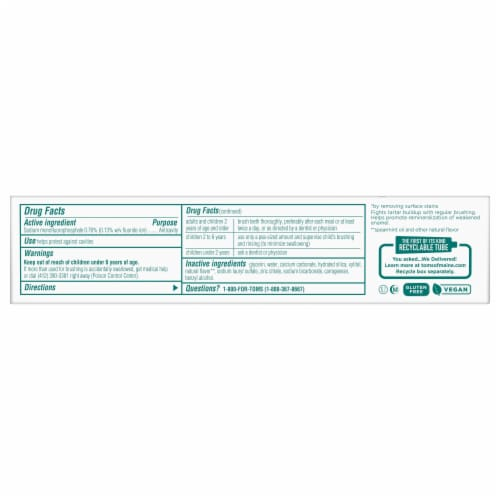 Tom's® Whole Care® Spearmint Gel Toothpaste Perspective: bottom