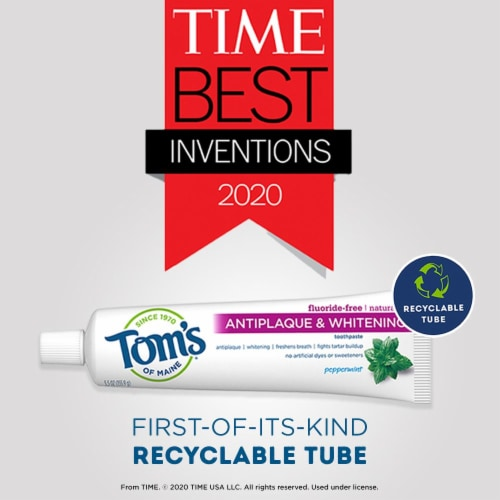 Tom's of Maine Antiplaque & Whitening Peppermint Fluoride Free Toothpaste Perspective: bottom