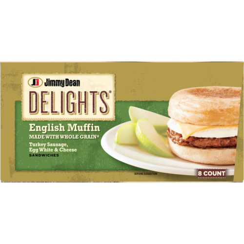 Jimmy Dean Delights Turkey Sausage Egg White & Cheese English Muffin Sandwiches Perspective: bottom