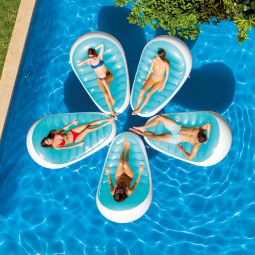 Intex Petal Floating Lounge Chair Pool Float Lounger w/ Cupholder, Blue & White Perspective: bottom