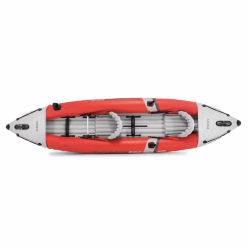 Intex Excursion Pro Inflatable 2 Person Vinyl Kayak with 2 Oars and Pump, Red Perspective: bottom