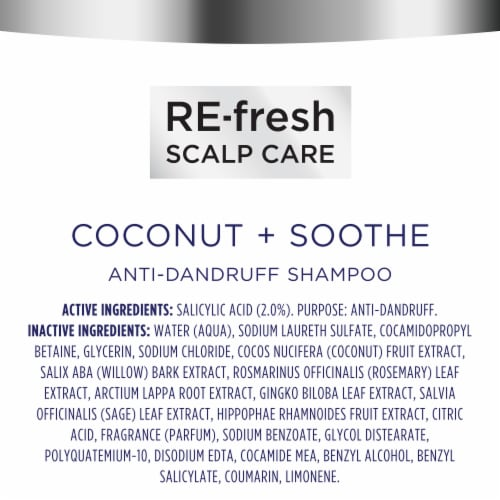 RE-Fresh Silicone-Free Coconut & Soothe Anti-Dandruff Shampoo with Salicylic Acid Perspective: bottom