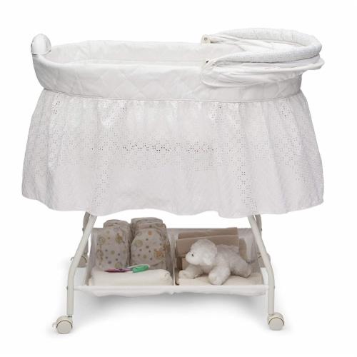 Delta Children Infant Deluxe Sweet Beginnings Baby Bedside Bassinet, Turtle Dove Perspective: bottom