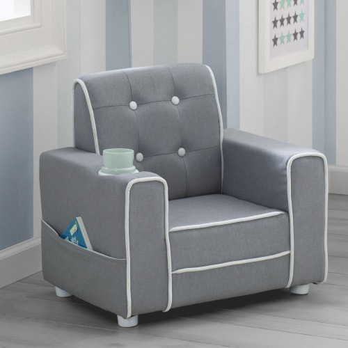 Delta Children Chelsea Kids Toddler Upholstered Chair with Cup Holder, Gray Perspective: bottom