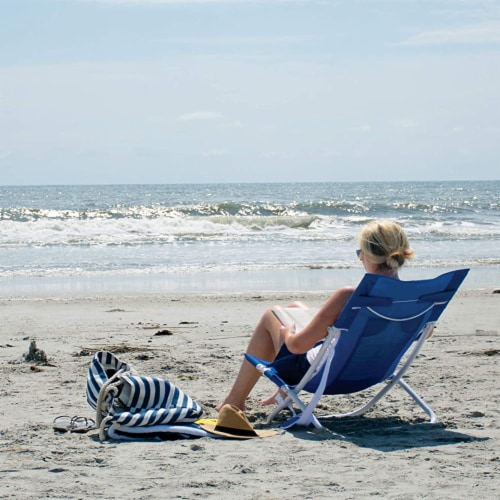 Rio Gear Portable Breeze Hammock Beach Chair w/ Foam Pillow & Cup Holder, Blue Perspective: bottom