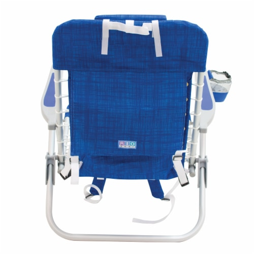 RIO Brands Portable 4 Position Lace Up Folding Backpack Beach Lounge Chair, Blue Perspective: bottom