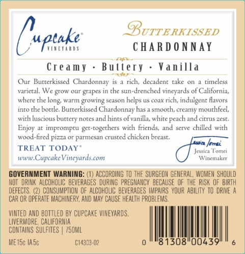 Cupcake Butterkissed Chardonnay White Wine Perspective: bottom