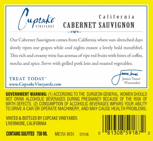 Cupcake Vineyards Cabernet Sauvignon Red Wine Perspective: bottom