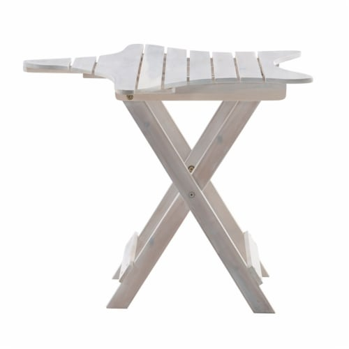 Powell Westover Wood Outdoor Folding Table in Whitewash Perspective: bottom