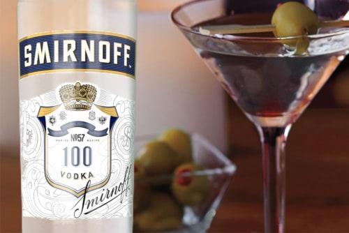 Smirnoff 100 Proof Vodka Perspective: bottom