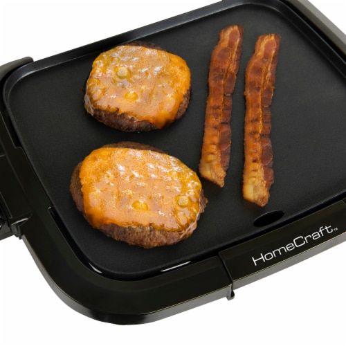 HomeCraft Non-Stick Griddle With Warming Drawer - Black Perspective: bottom