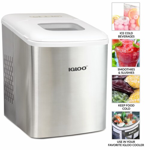 Igloo 26-Pound Stainless Steel Automatic Portable Countertop Ice Maker Machine - Silver/White Perspective: bottom