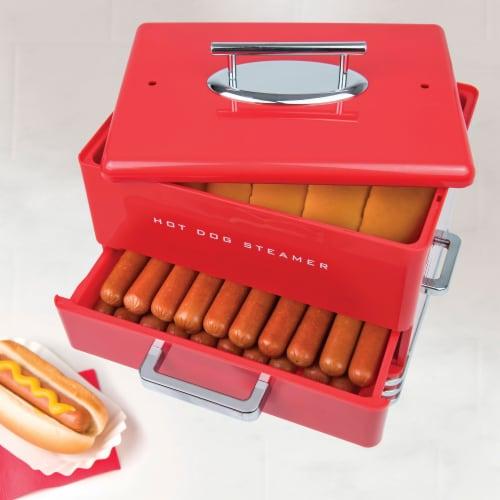 Nostalgia Large Diner Style Hot Dog Steamer Perspective: bottom