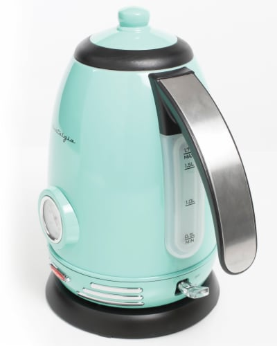 Nostalgia Retro Stainless Steel Electric Water Kettle - Aqua Perspective: bottom